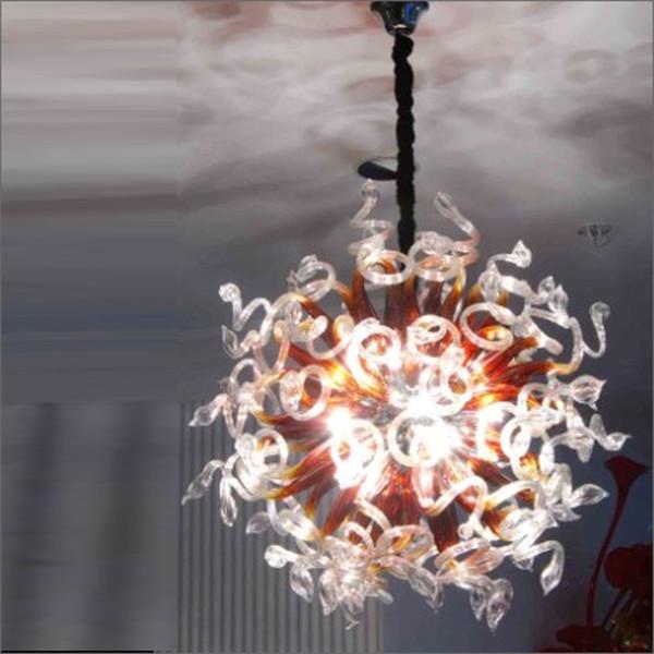 Brillian Italy Castle Bubbles Blown Murano Glass Art Chandelier Amber Multicolor LED 100% Mouth Blown 110v/120v LED Bulbs