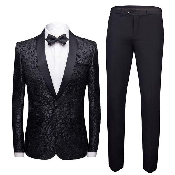 Siyah Resmi Takım Elbise Erkekler 2 Parça Set Asya Boyutu 4XL İş Ziyafet Erkekler Suit Ceket ve Pantolon Moda Jakarlı Kumaş Setleri