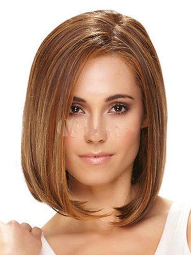New Stunning Lady Medium Mix Brown Straight Hair Costume Daily Kanekalon Heat Resistant Cosplay Party Hair Full Wig Wigs