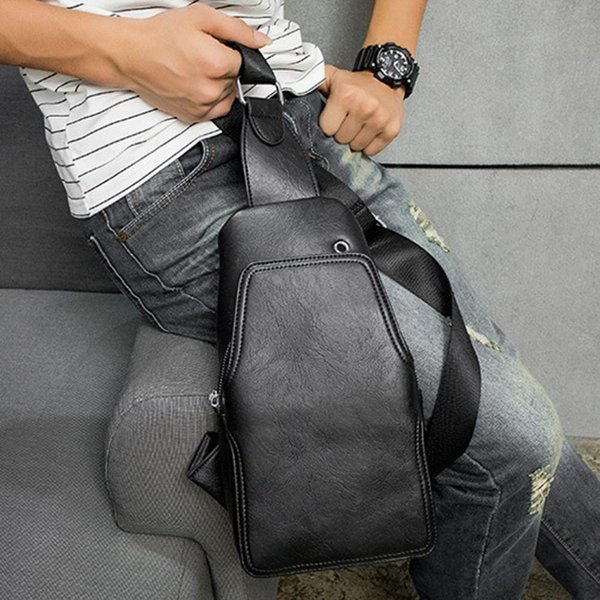 Men PU Leather High Quality Travel Sling Chest Bag Cross Body Messenger Shoulder Bag