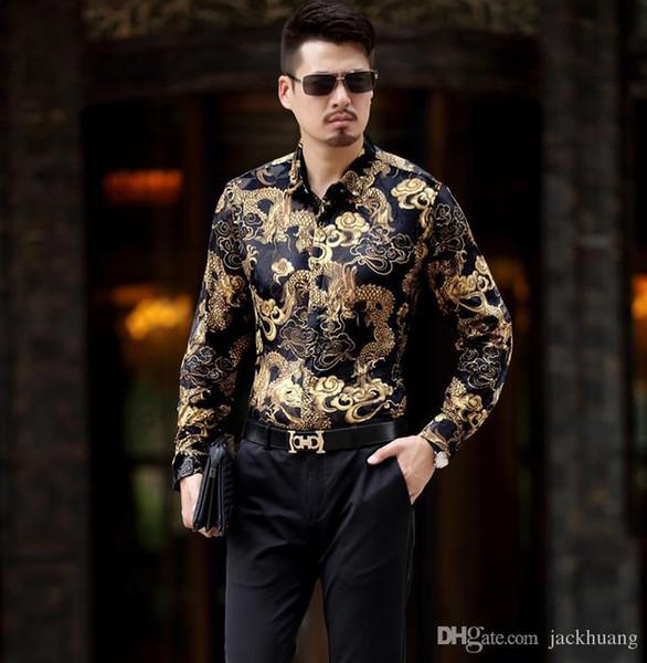 Camicie superiore del Mens di seta degli uomini casuale a maniche lunghe drago disegno della stampa sottile sexy velluto Camicie morbido comodo sottile