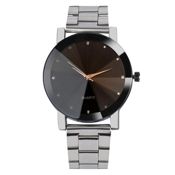 Mode Paar Quarzuhr Strass Dekoration Stahl GMT Zeit, 24-Stunden-Anweisungen Band Unisex-Armbanduhr