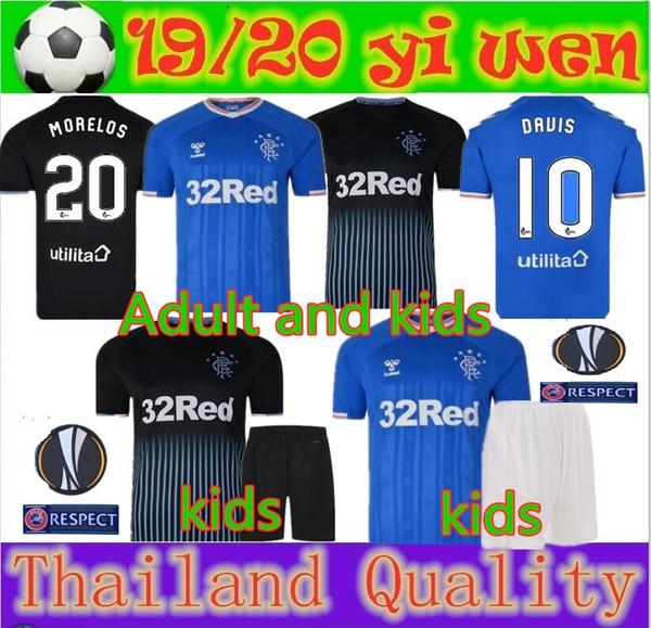 Yetişkin ve çocuklar 2019 Rangers FC Ev Mavi Futbol Formaları 19 20 Glasgow Rangers Uzakta siyah Futbol Gömlek Üniforma