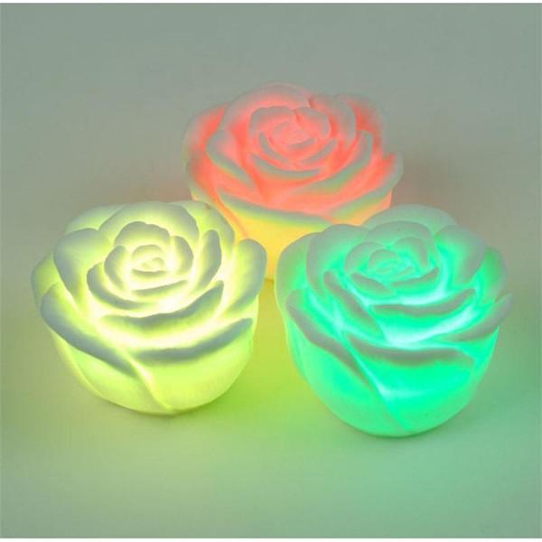 couleur changeable led rose fleur bougies allumée sans fumée roses sans flamme led lampe valentine jour noël décorations