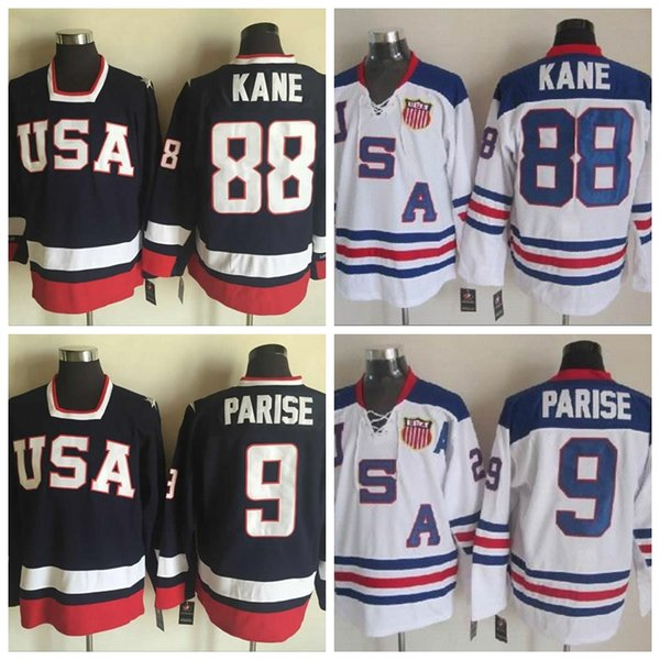 2010 Olympic USA Team Hockey Jerseys #9 Zach Parise Jersey #88 Patrick Kane Jersey Top Quality Blue White Stitched Shirts