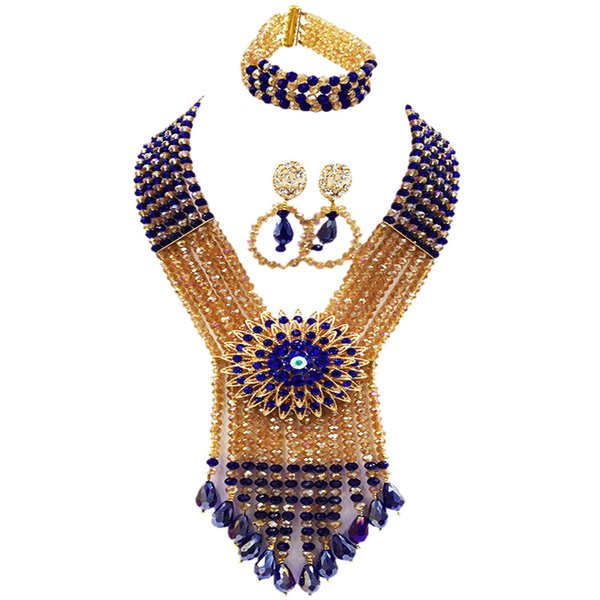 Royal Blue Champagne Gold AB African Beads Jewelry Set Crystal Beaded Necklace Nigerian Wedding Party Jewelry Sets 6SDLS02