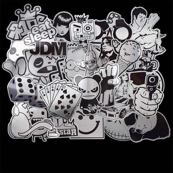 best selling 50pcs Black and White Sticker Lot Snowboard Car Styling Laptop Luggage Fridge Motorcycle Bike Toy Vinyl Decal Home Decor DIY Cool Stickers