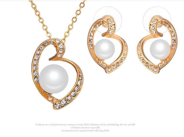 fully-jewelled heart pearl necklace earrings jewelry sets for women best gift 4 colors min order 5sets 1506