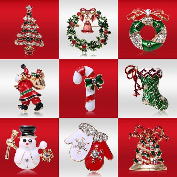 broches de la aleación de navidad para las mujeres del árbol de Navidad de Santa Claus joyas broche de cristal de traje muñeco de nieve