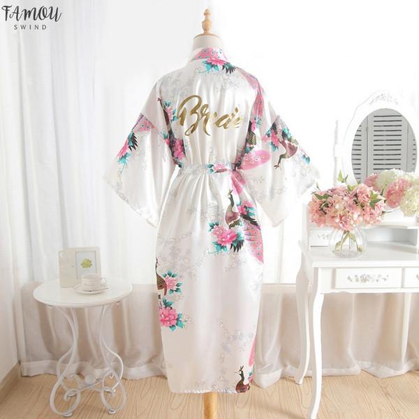 Seda dama de honor de la novia del traje de la criada de honor del traje de boda de la madre de Kimono camisón Mujer cuello en V vestido la túnica satén de las mujeres