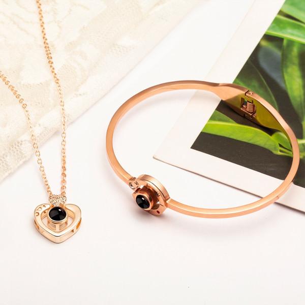 100 Languages I Love You Bracelet for Women Projection Memory Love Bracelet&Necklace Set Rose Gold Silver Crystal Pendant Gifts