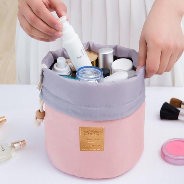 High Quality Waterproof Barrel Travel Cosmetic Bag Cosmetic Bag Nylon Wash Bag Dressing Box Storage case Large Capacity