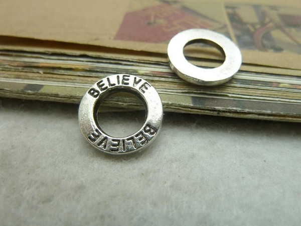50Pcs Antique Silver believe Circle Charm Pendant Jewlery Making