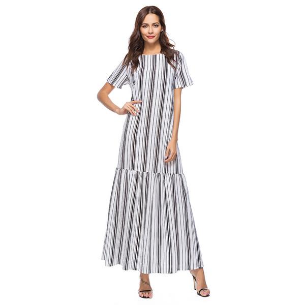 Women Striped Summer Long Dress Vintage Casual Maxi Dress Ladies Short Sleeve Patchwork Elegant Dresses Vestidos