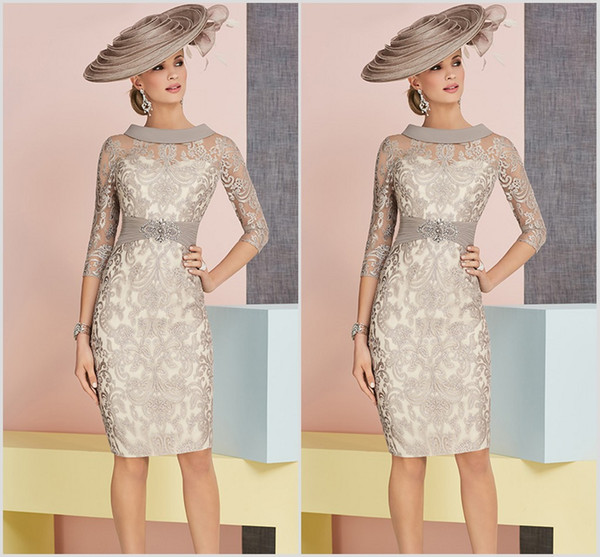 Sheath Knee Length Mother Of The Bride Dresses 2019 Full Lace Plus Size  Wedding Guest Dress 3/4 Long Sleeve Evening Gowns Summer Mother Of The  Bride ...