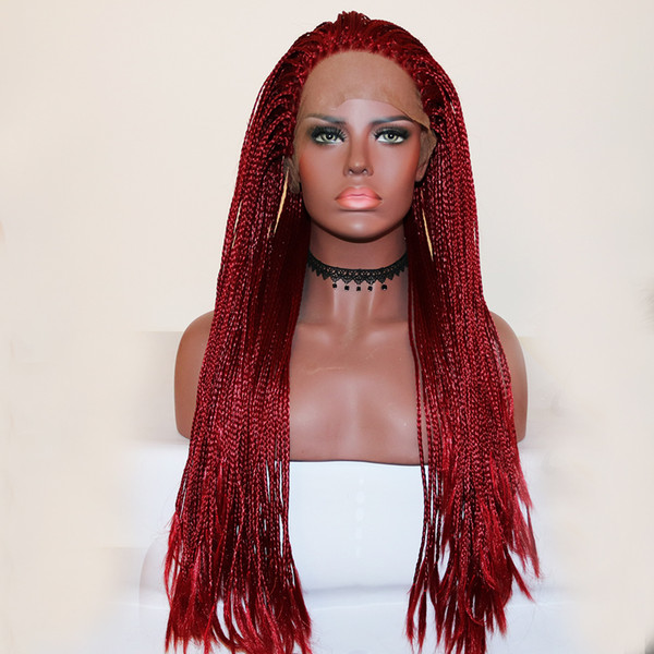 Top Quality Natural Hairline Long Braided Hair Synthetic Lace Front Wigs Dark Red Color Micro Braids with Baby Hair Free Part Heat Resistant