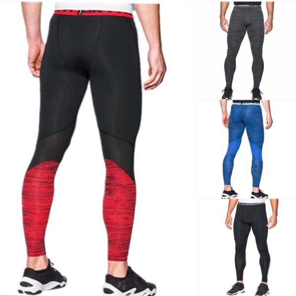 Men Sports Compression Tight U&A Quick Dry Leggings Summer Workout Base Layer Stretch Pants Slim Skinny Jogging Gym Trousers M-2XL C42401