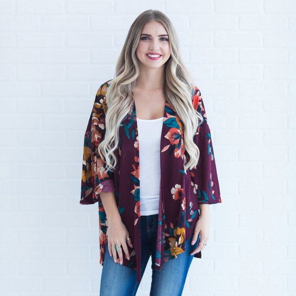 2019 Women Plus Size Kimono Boho Cover Ups Floral Print Loose Shawl Kimono  Cardigan Lace Three Quarter Sleeve Summer Tops Y19042902 From Huang03, ...
