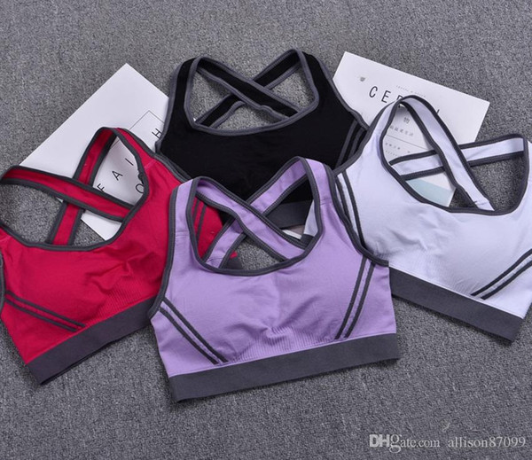 Quakeproof sports padded bra for women Tank Seamless nylon Corset Cross back Gym active running tank 4colors Quality women sports clothing