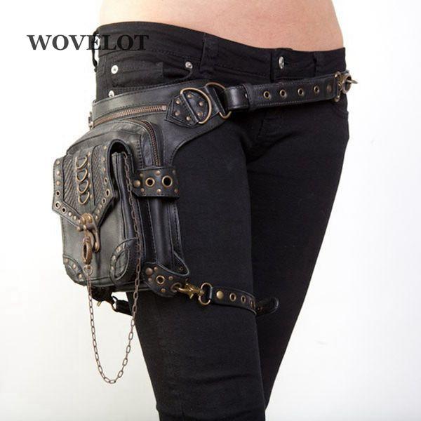 Fggs Leather Unisex Waist Pack Leg Drop Bags Motorcycle Crossbody Messenger Shoulder Belt Bum Hip Purse Pouch Thigh Fanny Bags J190521
