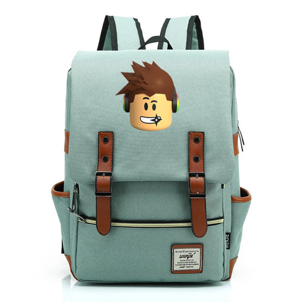 2019 New Hot Games Roblox Cartoon Prints Boy Girl Student School Bag Teenagers Schoolbags Canvas Women Bagpack Men Backpack Y19051701
