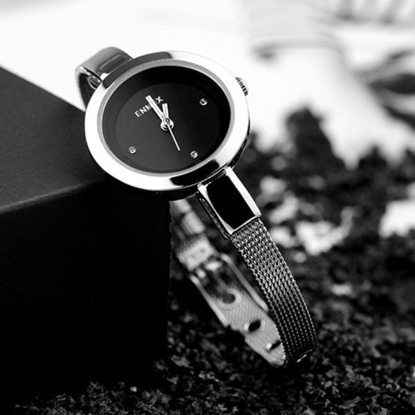 Großhandel 2018 Enmex Frauen Edelstahl Dünner Bügel Uhr Geschenk Satz Mit Kasten Und Tasche Junges Mädchen Elegantes Mode Quarz Dame Watches C19041202
