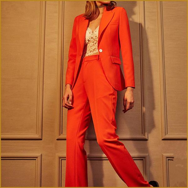 Office Uniform Style 2 Piece Set 2018 Formal Pant Suits for Weddings Women Evening Party Suits Ladies Orange Pant Suit Slim Fit