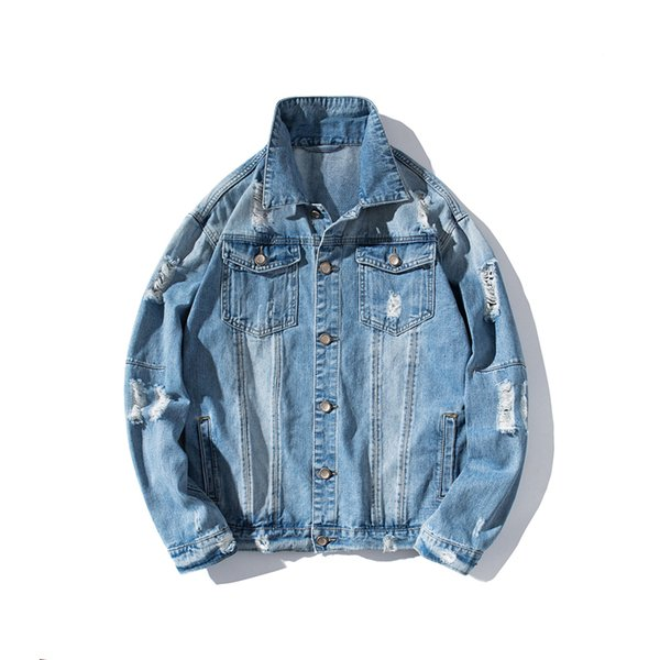 giacca di jeans foro versione coreana dei nuovi uomini di autunno 2019 della giacca di jeans sottile