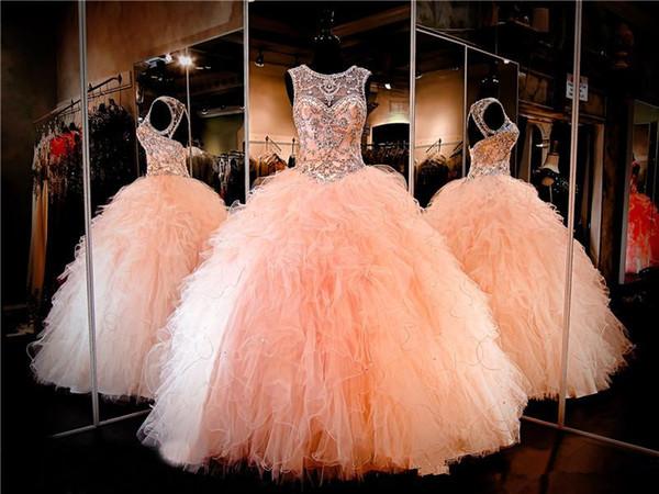 Erröten Sie Ballkleid Quinceanera Kleid mit hohem Ausschnitt Schlüsselloch zurück Schnüren Sie sich oben gekräuselte Organza Pageant Kleid