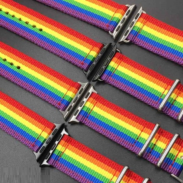 best selling Rainbow Nylon canvas weave watchbands for apple watches series 1 2 3 4 40mm 44mm soft colorful iwatch soft sport bracelet bands