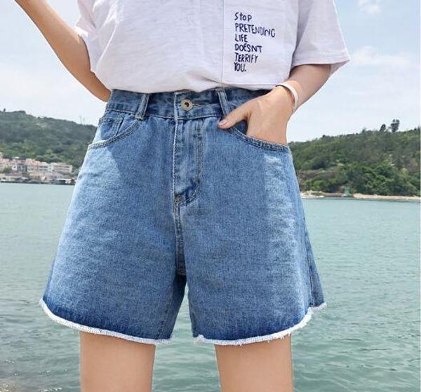 44e71137e Hot summer denim blue shorts womens high waist button cowboy loose pockets  zip jean short pants turn up casual for femme girls