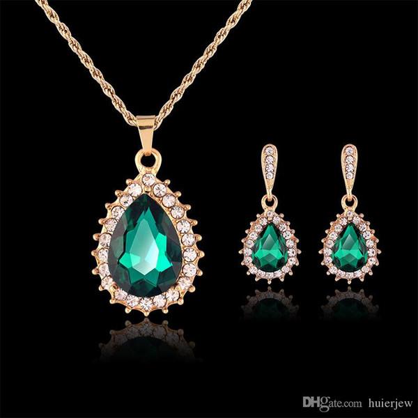 Conjunto de joyas de dama de honor Pendientes de oro macizo Conjuntos de collar Conjuntos de joyas de cristal Conjunto de joyas de fiesta de joyería