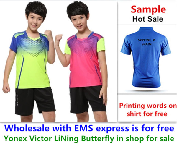 top popular Wholesale EMS for free, Text printing for free, new kid children badminton shirt clothes table tennis T sport shirt clothes 1333 2020