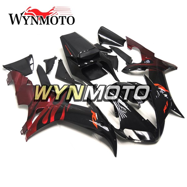 Полное покрытие для Yamaha YZF1000 R1 2002 2003 02 03 ABS пластик инъекции мотоцикл панели черный с красным пламенем корпусов YZF R1 02 03 обтекатели
