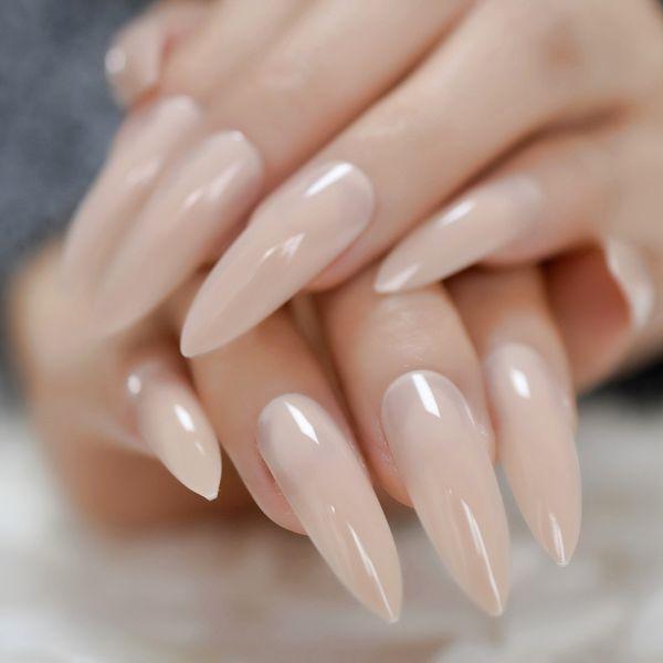 Netural Nu très grands Salon ongles pointus Gel UV Tip Brillance Press sur Fingernails pour Party extrêmement Stiletto Conseils de manucure