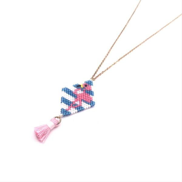b9af0adff6501 2019 Go2boho MIYUKI Necklace Pink Flamingo Pendant Necklace Insta Fashion  Gold Chain 2019 Women Jewelry Handmade Summer Beautiful From Ekkk, $39.86    ...
