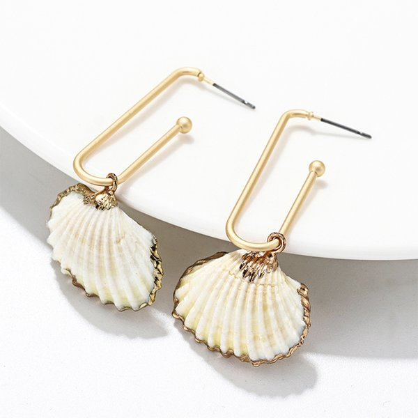 Summer Conch Shell Earrings For Women Bohemia Natural Seashell Earring cowrie Drop earing pendientes largos Beach Jewelry 2019