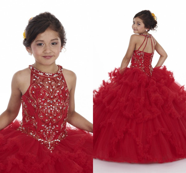 best selling Princess Red Champagne Girl Pageant Dresses 2020 New Ruched Tulle Puffy Skirt Corset Back Crystals Beaded Appliques Top Kids Formal Dress