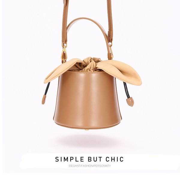 Lucky2019 Crowd Small Design Leather Bucket Lady Bag Bow Knot One Shoulder Inclined Handbag