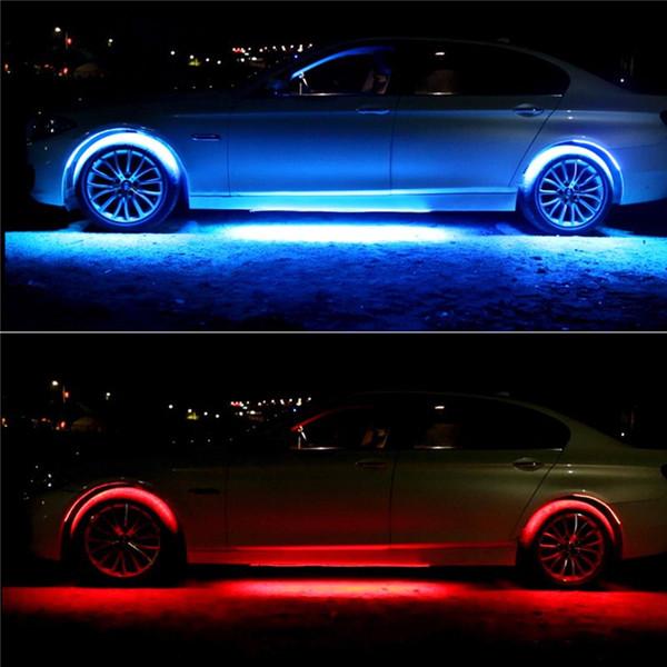 4x8 Renkler Parlak Oto LED Şerit Neon LED Araba Alt Işıklar Underglow Underbody Müzik Aktif Ses Sistemi Neon Işık Araba Kiti