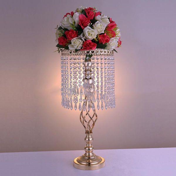 Grand 70cm Fleur De Mariage Décoration vase De Fer Cristal Gâteau Stand Hôtel table centres de table fleur vase afficher signe zone de mariage