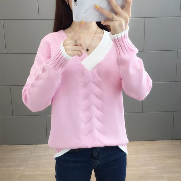 Herbst Winter schicke rosa V-Ausschnitt lose Pullover Pullover Frauen Korea Strickpullover weibliche Boden weichen Pullover