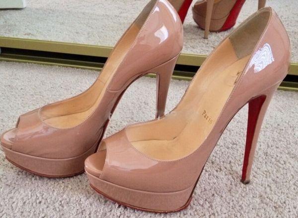 14 cm Marca mulheres Red Bottoms de Salto Alto Sexy Peep-toe Plataforma Sapatos de Sola Vermelha Mulheres Bombas de Salto Alto Sapatos de Festa tamanho 34-42