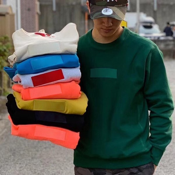 19FW 12 Couleurs BOÎTE LOGO Crewneck Mode Sweat Casual Hommes Femmes Pull Couple Outfit Street Pull HFLSWY243-YP