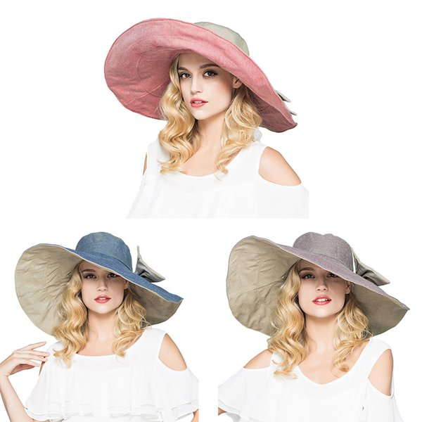 Womens UPF 50+ Foldable Floppy Reversible Ultra Large Wide Brim Beach Sun Hat Contrast Color Bucket Cap With Detachable Bowknot