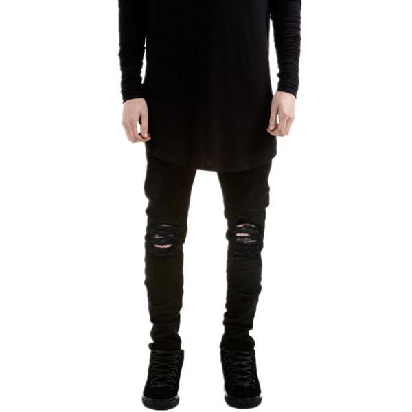 Toptan Satış - Toptan-2016 Yeni moda Marka erkekler siyah kot skinny Stretch Slim kanye batı hip hop yağma denim motosiklet bisikletçinin pantolon Jogger yırtık