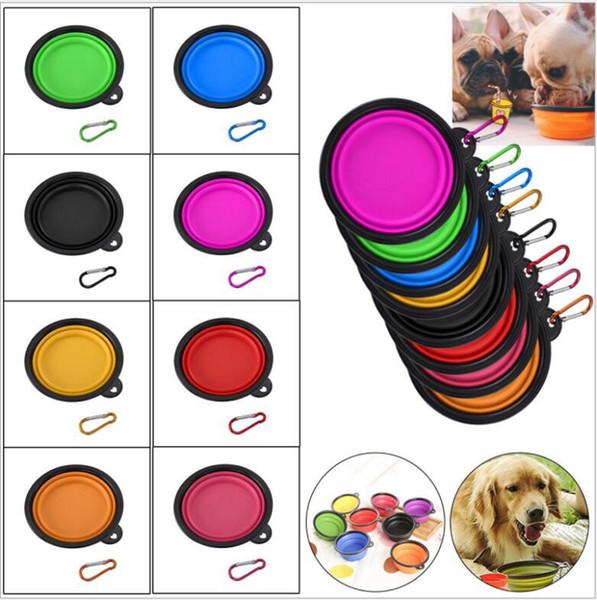 Bols pliables pour animaux de compagnie de chien de chien de compagnie de silicone de silicium pliable de voyage bols de l'eau de plat de nourriture pour chiens