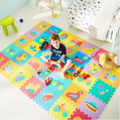 top popular 10Pcs animal Number Pattern Foam Puzzle Kids Rug Carpet Split Joint EVA baby Play Mat Indoor Soft activity Puzzle Mats 2021