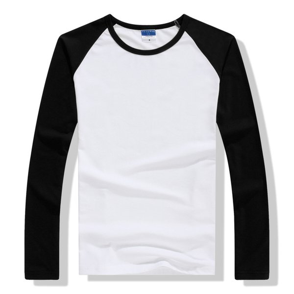 2019 Spring Autumn Long Sleeve T Shirt Men Contrast Color Round Collar Cotton Mens Casual Slim Fit Raglan T-Shirts Tees Tops