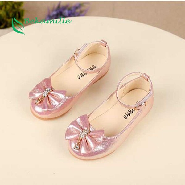 Bekamille Children Girls Princess Leather Shoes Fashion Girls Baby Bow Diamond Leisure Shoes Kids Student Sneakers Dance
